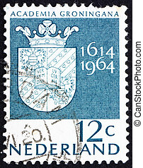 NETHERLANDS - CIRCA 1964: a stamp printed in the Netherlands shows Arms of Groningen University, 350th anniversary of the University of Groningen, circa 1964