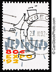 Postage stamp Netherlands 1992 Dutch Map, EXPO 92 -...