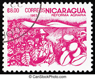 Postage stamp Nicaragua 1983 Coffee Beans, Agrarian Reform -...