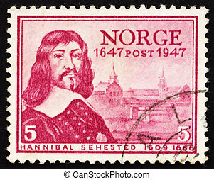 Postage stamp Norway 1947 Hannibal Sehested, Governor of ...