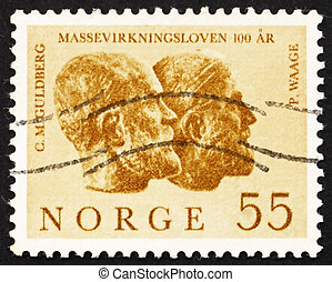 Postage stamp Norway 1964 Cato M. Guldberg and Peter Waage
