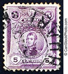 Postage stamp Peru 1909 Jose de San Martin - PERU - CIRCA...