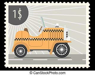postage stamp - Postage stamp with retro taxi cars. Vector ...
