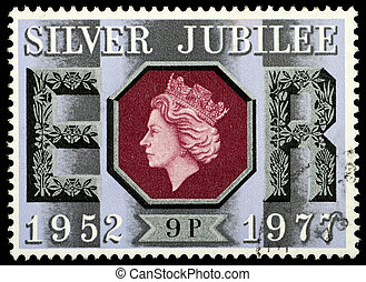 UNITED KINGDOM - CIRCA 1977: British Used Postage Stamp celebrating the Silver Jubilee of the Crowning of Queen Elizabeth 2nd, circa 1977