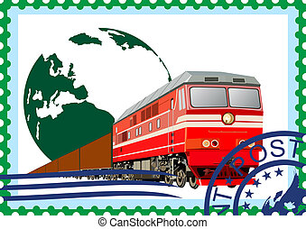 Postage stamp. Rail freight