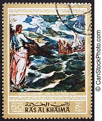 Postage stamp Ras al-Khaimah 1970 Christ at the Sea of Galilee,