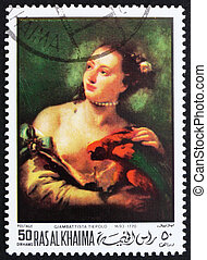 Postage stamp Ras al-Khaimah 1970 Woman with a Parot by Tiepolo