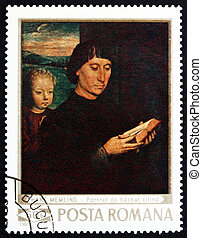 ROMANIA - CIRCA 1969: a stamp printed in the Romania shows Man Reading and Child, Painting by Hans Memling, circa 1969
