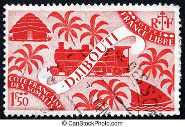 SOMALI COAST - CIRCA 1927: a stamp printed in the Somali Coast shows Locomotive and Palms, Djibouti, circa 1927