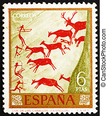 Postage stamp Spain 1962 Hunters and Deer Herd, Wall Painting