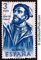 SPAIN - CIRCA 1962: a stamp printed in the Spain shows Juan de Garay, Conquistador, Builders of the New World, circa 1962