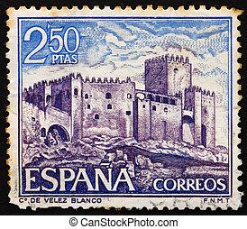 SPAIN - CIRCA 1969: a stamp printed in the Spain shows Velez Blanco, Almeria, Spain, circa 1969