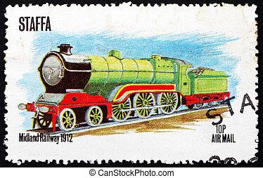 Postage stamp Staffa, Scotland 1973 Locomotive - STAFFA - ...
