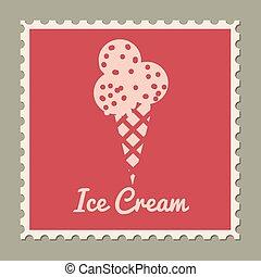 Postage stamp summer vacation Ice Cream. Retro vintage design vector illustration isolated