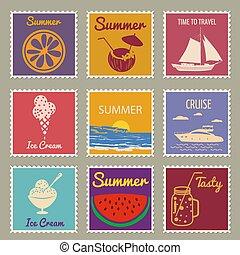 Postage stamp summer vacation Sunset Watermelon Jar Ice Cream Yacht Van Sailboat. Retro vintage design vector illustration isolated