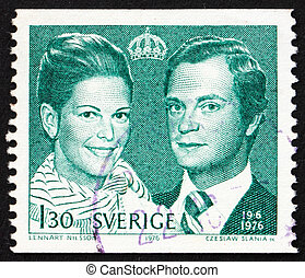 SWEDEN - CIRCA 1976: a stamp printed in the Sweden shows King Carl XVI and Queen Silvia, circa 1976