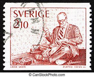 Postage stamp Sweden 1976 Tailor - SWEDEN - CIRCA 1976: a ...