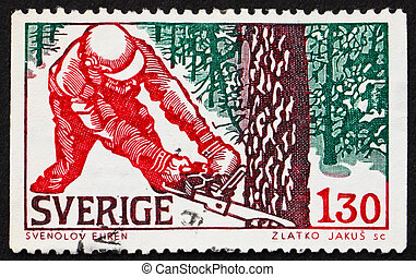 SWEDEN - CIRCA 1979: a stamp printed in the Sweden shows Woodcutter in Winter, circa 1979