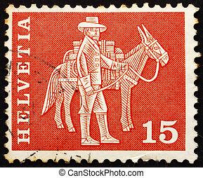 Postage stamp Switzerland 1960 Messenger and Pack Animal - ...