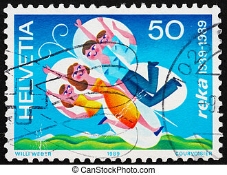 Postage stamp Switzerland 1989 Family with Stylized Wings