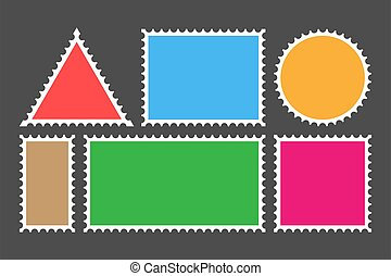 Postage stamp template. Set of blank stamps. Vector stock illustration.