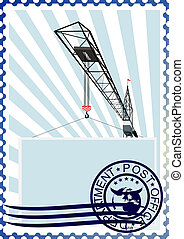 Postage stamp. The construction cra