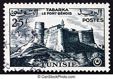Postage stamp Tunisia 1954 Genoese Fort, Tabarka - TUNISIA...