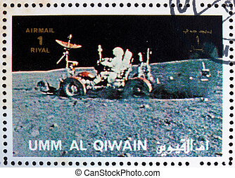Postage stamp Umm al-Quwain 1972 Astronaut Driving a Moon Rover