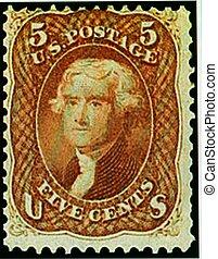 POSTAGE STAMP, U.S., JEFFERSON
