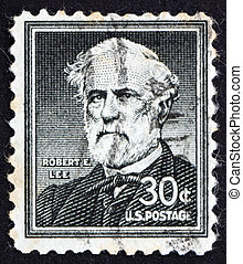 UNITED STATES OF AMERICA - CIRCA 1954: a stamp printed in the United States of America shows Robert E. Lee, commander of the Confederate Army of Northern Virginia in the American Civil War, circa 1954