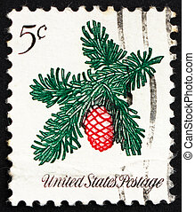 Postage stamp USA 1964 Sprig of Conifer, Christmas - UNITED...