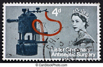 GREAT BRITAIN ? CIRCA 1965: a stamp printed in the Great Britain shows Lister?s Carbolic Spray, circa 1965