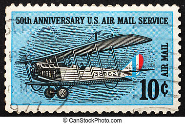 UNITED STATES OF AMERICA - CIRCA 1968: a stamp printed in the USA shows Curtiss Jenny, Biplane, circa 1968