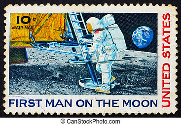 Postage stamp USA 1969 Man?s 1st landing on the moon, Apollo...