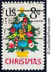 Postage stamp USA 1973 Christmas tree