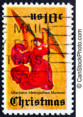 Postage stamp USA 1974 Angel from Perussis altarpiece