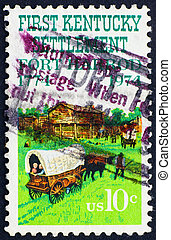 Postage stamp USA 1974 Fort Harrod and oxcart