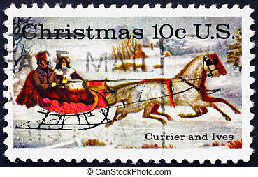 Postage stamp USA 1974 The Road Winter