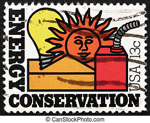 Postage stamp USA 1977 Energy Conservation - UNITED STATES...