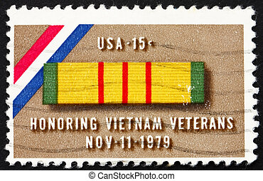 Postage stamp USA 1979 Ribbon for Viet Nam Service Medal -...