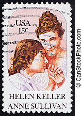 Postage stamp USA 1980 Helen Keller and Anne Sullivan -...
