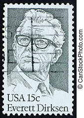 Postage stamp USA 1981 Everett Dirksen, politician - UNITED...