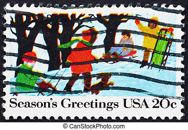 Postage stamp USA 1982 Children Playing in the Snow, Christmas