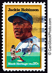 Postage stamp USA 1982 Jackie Robinson, Baseball Player -...