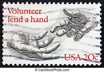 Postage stamp USA 1983 Volunteer lend a hand - UNITED STATES...