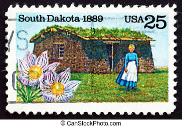 Postage stamp USA 1989 Pioneer Woman and Sod House - UNITED...