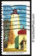 Postage stamp USA 1990 Sandy Hook, New Jersey, Lighthouse
