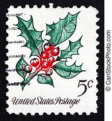 Postage stamp USA 1996 Holly, Christmas Decoration