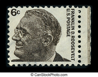 USA - CIRCA 1966: A stamp image portrait Franklin Delano Roosevelt (January 30, 1882 - April 12, 1945) was the 32nd President of the United States and a central figure in world events during the mid-20th century, circa 1966.