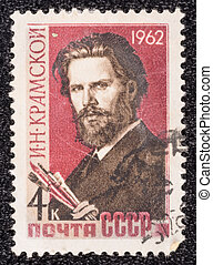 USSR - CIRCA 1962: A stamp printed in the USSR, shows Ivan Kramskoy, circa 1962